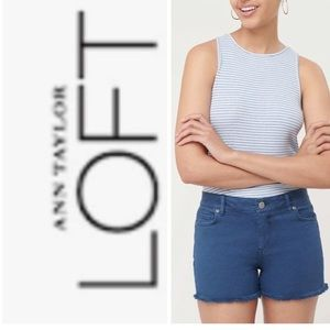 ANN TAYLOR Loft Cutoff Shorts Denim Raw Hem